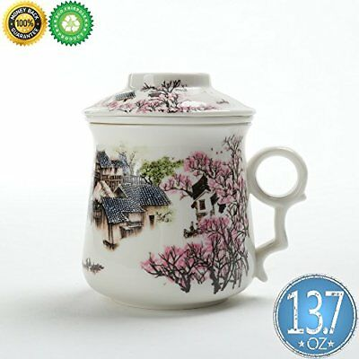 Chinese Tea-Mug 13.7oz with Infuser and Lid TEANAGOO-Neptune Asian Porcelain Tea