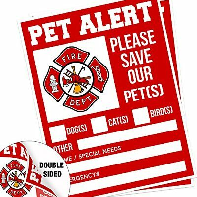 "Pet Alert Fire Rescue Sticker 5""x 4"" Double Sided 2 Pack Save Our Pets Emergency"