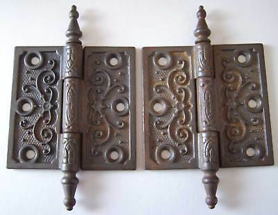 "Antique Pair of Door Hinges - Steeple Finials - 3.5"" x 3.5"""