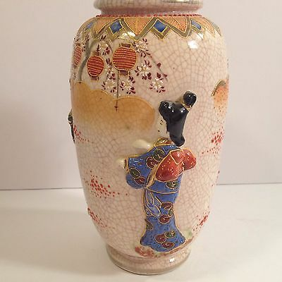 Vintage Japanese Geisha Vase Sculpted Raised 3D & Enamel Moriage Crackle Finish