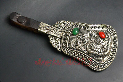 chian Collectible plate Tibet Silver inlaid jade carve dragon hand mirror beauty