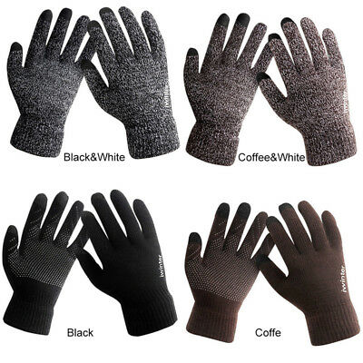 Men Women Knitted Gloves Touch Screen Winter Warm Fleece Lined Thermal Gloves NW