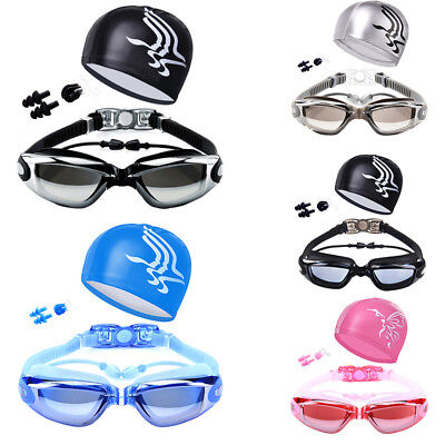 Waterproof Swim Goggles Anti-Fog Glasses + Swiming Cap Hat Water Sports Fabulous