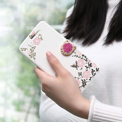 For iPhone Women's Ladies Flip Floral Flower Butterfly Print Magnet Case Cover S