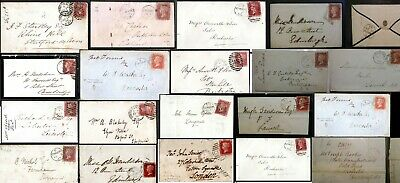 GB QV 1830 - 1879 1d Red Postal History Postmarks Locations + Imperf  MX Multi