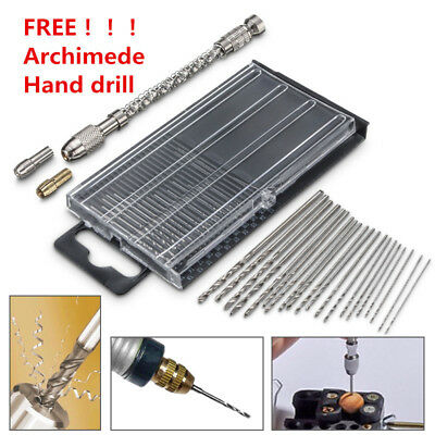21X Micro HSS Twist Drill Bit Set Hand Spiral Jewellery Watch Repair Model Craft