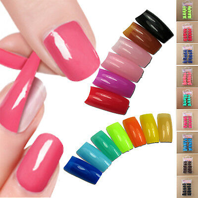 100PCS/Set False Acrylic Gel French Nail Art Half Natural color French Tips Neu