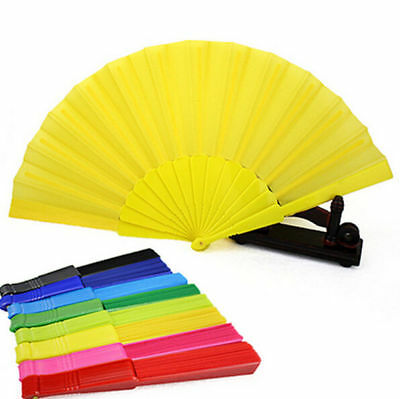 Portable Plastic Hand Fan Folding Chinese Dancing Decor Japanese Wedding Party