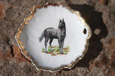 Vintage Napco Gray Horse Standing Miniature Plate Dish Gold Trim Leaf Shaped 4in