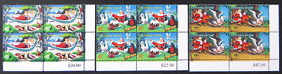 1999 Christmas Island Stamps - Christmas - Cnr Set of 3 x 4-Tabs MNH