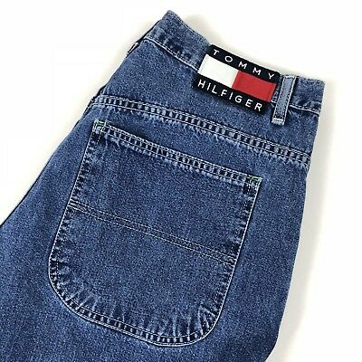 Vintage Tommy Hilfiger Men's Jeans Blue 80s 90s Flag Tag Loose Relaxed 33W 28L