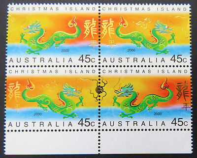 2000 Christmas Island Stamps - Lunar New Year- Year of Dragon-Block 4-Set 2x2MNH