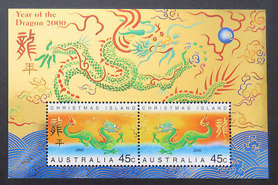 2000 Christmas Island Stamps - Lunar New Year-Year of Dragon Mini Sheet MNH