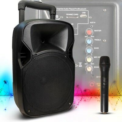 Bluetooth MP3 Musik Live Event Anlage Mobil USB SD Party Box Trolley Akku MB-12