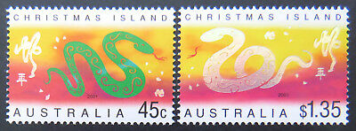 2001 Christmas Island Stamps - Lunar New Year- Year of Snake - Set of 2 MNH