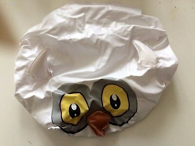 Owl Shower Cap White  With Yellow Eyes Brown Beak & White Ears New