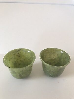 Pair Of Carved Chinese Spinach Green Translucent Jade Sake Glasses