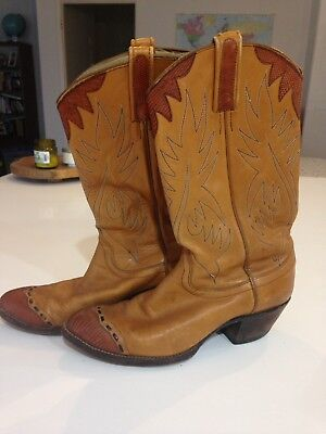 Vintage DAN POST Womens Brown Leather Cowboy Western Heeled Boots 8