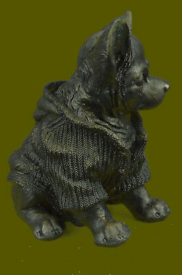 Huge Sale Old Solid Cast Bronze Chihuahua Seated Dog Statue Art Deco Figurine