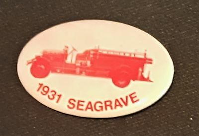 1931 vintage SEAGRAVE FIRE ENGINE Celluloid PIN hook ladder pinback