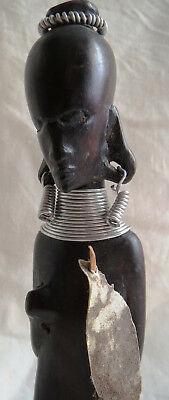 1960s Era Carved Dense Wood African Ring Neck Pygmy Warrior Statue Figure Totem