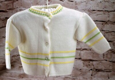 Magic Years White Acrylic Blend Knit Button Down Sweater Baby Size 12 Months