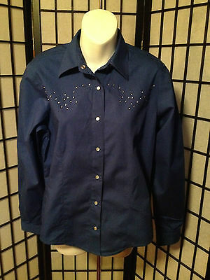 Rockies Size Medium Royal Blue Long Sleeve Shirt with Pearl Snaps & Crystals