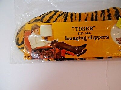 New Old Stock 1960s 60s TIGER Fit-All Lounging Slippers Unisex