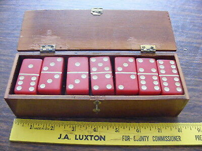 Vintage Red Dominoes In Old Wooden Box