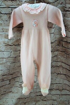 Vintage 1980 Carriage Boutique Baby One Piece Pink Acrylic Footed Size 0-3 Month