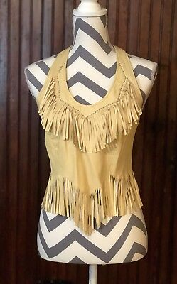 Leather Womens Small Halter Top Native American Fringe Tribal