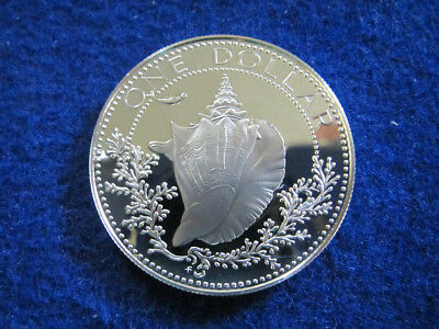 1977 Bahamas Gem Silver Proof Conch Dollar - Free U S Shipping