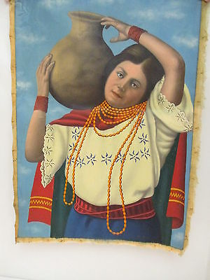 Vintage Rare Hand Painted Oil Canvas of Young Girl Holding Pot On Shoulder