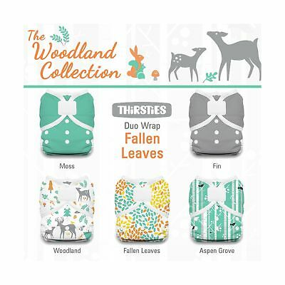 Thirsties Package-Duo Wrap Hook and Loop-Woodland Collection Fallen Leaves Si...