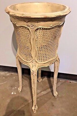 Vintage French Louis XV style carved and caned planter, circa 1940