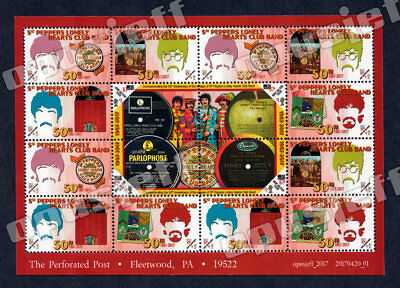 Beatles - Sgt. Pepper 50th Anniv Sheet - (Cinderella, Artistamp, Faux Postage)