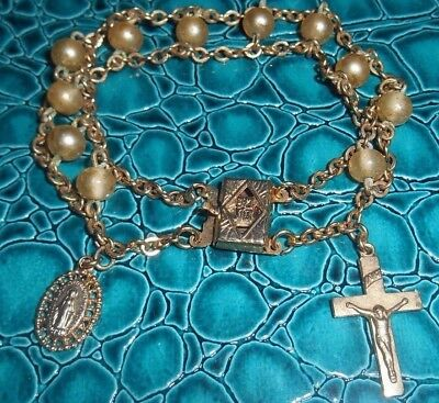 """Vintage Religious Charm Bracelet-7"""" -""""pearl"""" crucifix & holy mother charms-Japan"""