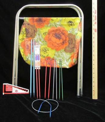 Vintage Knitting Bag Metal Frame Folds Portable Floral Fabric w/ Assorted Needle