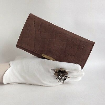 Vintage 1960s Textured Leather Mid Brown Coin Purse Wallet Fabric Suede Lining