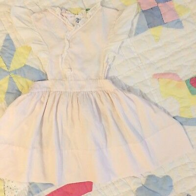 Vtg Pink Pinafore Dress Retro 6m 9m 12m 12 Baby Girl Easter Spring Sheer Lace