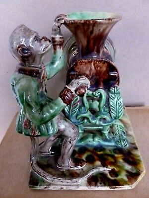 Majolica Ceramic Monkey Figure Jose Cunha  Portuguese Pottery Antique Circa 1890