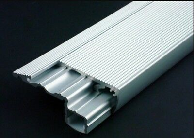 60mm x 1m 6022 Aluminum Stair Nosing with Cover & End Caps, Holds LED Lights