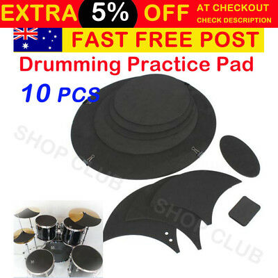 NEW 10pcs Mute Silencer Drumming Practice Pad Bass Drums Quiet Sound off Black