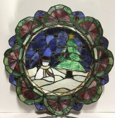 Rare Vintage Christmas Stained Glass Window Panel/Display Multi-Level (Not Flat)