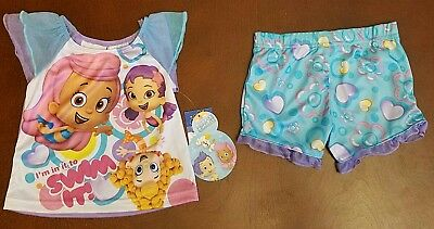 Bubble Guppies Toddler Girl Shirt & Shorts Pajamas 12 Months New Fire Resistant