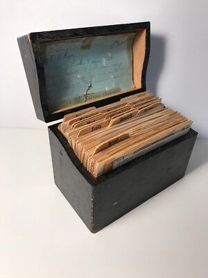 Vtg Wood Recipe Box Chippy Paint Full of Recipe Cards Handwritten Clipped Typed