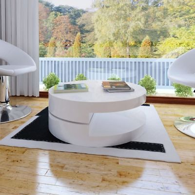 Modern White Coffee Table Side Storage Swivel Office Kitchen Round High Gloss