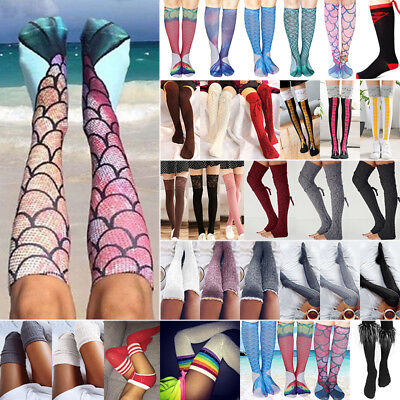 Womens Girls Over The Knee Socks Knit Thigh High Long Cotton Stockings Leggings