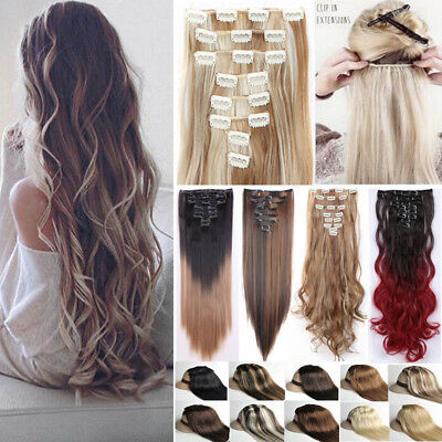 100% Real Natural 8 Pieces Clip In Ins as Human Hair Extensions Full Head Ph7