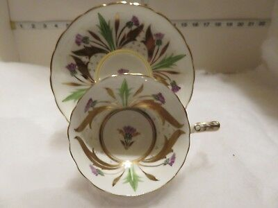 Royal Chelsea Wide Mouth  Cup And Saucer With Lots Of Gold Trim